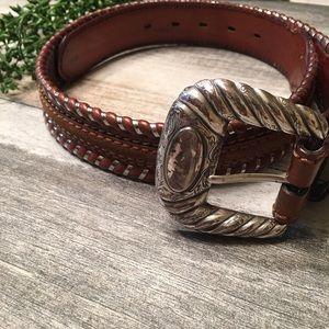 {Tony Lama} tooled leather belt